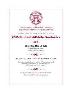 2016 Student-Athlete Graduation Celebration Invite